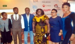 Rivers State Commissioner for Information and Communications, Mrs Ibim Semenitari (3rd right), Mr Frank Osodu, Fashion Director (3rd left), Uche Doris Adaugo, female winner 2013 (right), Ekpata Gedoni, male winner 2013 (2nd left), at the press conference for the 2nd Port Harcourt International Fashion Week at Voitel Hotel, Port Harcourt , recently.