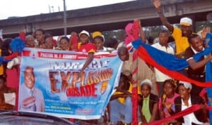 Deeper Life Bible Church rally in the street of Port Harcourt on the church forthcoming crusade which begins today.