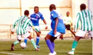 Dolphins and Sharks FC's players in a past contest. While Dolphins FC progressed to the 2014 Federations Cup semi final, Sharks lost 0-2 to Enyimba to crash out.