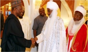 L-R:President Goodluck Jonathan  welcoming the Emir of Kano, Alhaji Sanusi Lamido Sanusi and Emir of Katsina,  Alhaji Abdulmmuni Usman to the Presidential Villa when Northern Traditional Rulers led by the Sultan of Sokoto came to break Ramadan Fast with the President,last Wednesday