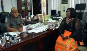 Rivers State Commissioner for Information and communications, Mrs Ibim Semenitari (right) listening to the Commissioner of Police, Rivers State Command, Mr Tunde Ogunsakin during a courtesy visit to the police boss by Semenitari and Management of Rivers State Newspaper Corporation in Port Harcourt, yesterday