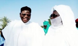 Governor Sule Lamido (left) of Jigawa State with the Emir of Dutse, Alhaji Nuhu Sunusi, during Sallah in Dutse, yesterday.