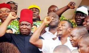 apga National Chairman, Chief Victor Umeh (left), and other members of the party in jubilant mood, after the Court of Appeal, Enugu ruled on Anambra State governorship election last Saturday. Photo: NAN