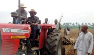 Delta State Commissioner for Agriculture and Natural Resources, Mr Misan Ukubeyinje, operating a tractor at the Federal Government cassava farm project,  to mark the commencement of cassava planting on the farm in Abraka, recently. Photo: NAN