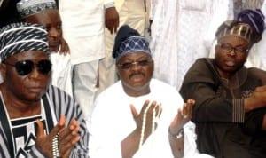L-R: Alhaji Lamidi Ajadi,  Governor  Abiola Ajimobi of Oyo State and his SSG, Alhaji Ismael Olalekan-Alli, at the Agodi Eid prayer ground  during the Eid-el-Fitr prayers in Ibadan last Monday. Photo: NAN