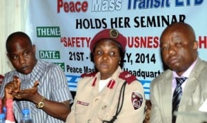 L-R: Managing Director Peace Mass Transit (PMT) Company, Mr Samuel Onyishi, FRSC Training Officer, Assistant Corps Commander, Josephine Oranebo and General Manager PMT, Mr Sylvanus Ozioko, during the round-up session of FRSC/PMT drivers training workshop in Enugu, recently.