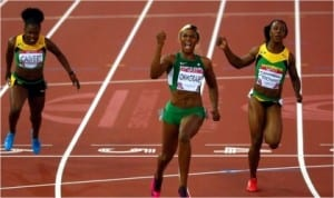 Blessing Okagbare,(middle) coasting home to gold in te women's 100metres at the ongoing Commonwealth Games In Glasgow, Scotland.