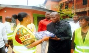 Member, House of Representatives for Port Harcourt Constituency 2, Hon. Blessing Nsiegbe  represented by Mrs Doris Ejegwu (left), presenting a gift to Alhaji Aribiton Okiri on behalf of Muslim women during the Sallah celebration in Port Harcourt last  Wednesday. Photo: Obinna Prince Dele