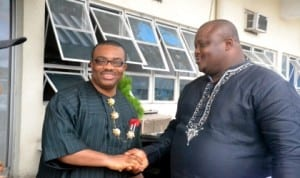 General Manager, Rivers State Newspaper Corporation, Mr Celestine Ogolo (left) welcoming Rtn Paul Ben-Cookey, President-elect, Rotary Club of Port Harcourt, Central District 9140 to The Tide on a courtesy visit. Photo: Ibioye Diama.