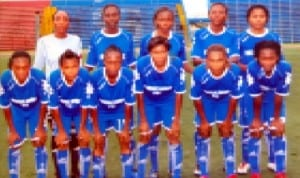 Rivers Angels FC of Port Harcourt, Rivers State in NWPL action recently.