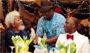 L-R: Prof. Wole Soyinka, Rivers State Deputy Governor Tele Ikuru and Governor Chibuike Amaechi of Rivers State at a dinner in honour of Prof. Wole Soyinka's birthday in Port Harcourt, last Wednesday night