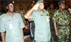 L-R:Assistant Director, Legal Services, 2 Div., Col. Musa Muhammed,  G.O.C, 2 Div., Maj-Gen. Emmanuel Abejirin and Chief of Staff to the G.O.C., Brig.-Gen. Johnson Oladeinde, at  the inauguration of General Court Martial in Ibadan, last Wednesday