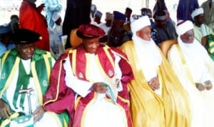 L-R: Pro-Chancellor, Sokoto State University, Alhaji Umaru Shinkafi, Governor Aliyu Wamakko of Sokoto State, Sultan of Sokoto, Alhaji Sa'ad Abubakar III and Emir of  Gwandu, Alhaji Mohammed Bashar, during the first matriculation ceremony of Sokoto State University in Sokoto, last Saturday.