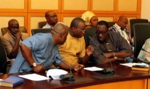 (R-L) Caretaker Committee Chairman of Eleme LGA and Deputy National Secretary of the APC, Hon. Oji Ngofa, member, Rivers State House of Assembly, Hon. Josiah John Orlu and Chairman of the Port Harcourt Flour Mills, Hon. Marcus Nle Eji, during a solidarity visit by Leaders of Eleme ethnic nationality to Governor Chibuike Amaechi at Government House, Port Harcourt, recently.
