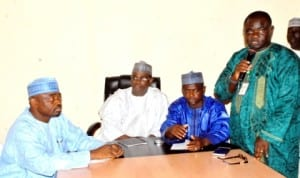 L-R: General Manager, Community  Social Development Projects (Csdp), Abubakar  Mohammed, Principal Private Press Secretary to Bauchi State Governor, Alhaji Adamu Alkali,  Bauchi  State Commissioner for Information, Alhaji Salihu Barau and Bauchi State Chief Press Secretary, Mr Ishola Michael,  at  a news conference on  project implementation  in Bauchi, recently.