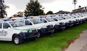 Vehicles presented to security agencies in Ibadan, recently.