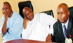 L-R: Director, Plateau State Ministry of Health, Mr Ibrahim Gontor, Secretary, Administration and Finance, Mr Solomon Musa and Permanent Secretary, Mr Elias Pede, during a news conference  on the activities to mark the World Hepatitis Day in Jos, recently.