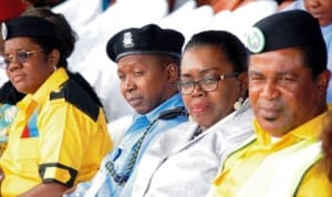 L-R: Commissioner, Child Rights Brigade (Crib), Enugu State Command, Mrs Oluchi Promise, representative of Enugu State Commissioner of Police, Mr Zakari Ya'u,Chairperson Child Protection Network, Mrs Margaret Nwagbo and Crib National Head of Operations, Mr Archibong Anderson, at the inauguration of CRIB, Enugu State Command in Enugu last Saturday.