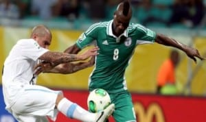 Brown Idaye (8) on duty for Nigeria at the last African Nations Cup in South Africa, last year