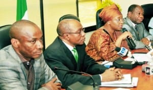 Chairman, Nigeria Electricity Regulatory Commission (Nerc), Dr Sam Amadi, Cbn  Governor, Mr Godwin Emefiele, Minister of Petroleum Resources, Mrs Diezani Alison-Madueke and Minister of Power, Prof. Chinedu Nebo, addressing newsmen on inter-agency collaboration on gas-power in Abuja, recently.
