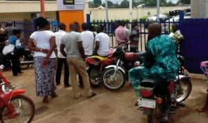 NLC and TUC officials picketing  banks in Makurdi as a result of  the workers  strike  in Benue State, recently.