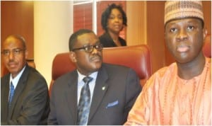 L-R: Minister of State for Health, Dr Khaliru Alhassan; Minister of Health, Prof. Onyebuchi Chukwu and Minister of State 2 for Foreign Affairs, Mr Nurudeen Mohammed, briefing Heads of Foreign Missions in Nigeria on Ebola Virus  in Abuja, yesterday
