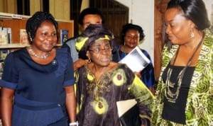 L-R: Guest Speaker, Mrs Victoria Famakinwa, Prof. Bolanle Awe and Principal State  Counsel, Oyo State Ministry of Justice, Mrs Modupe Awosemusi, at a public function in Ibadan, recently