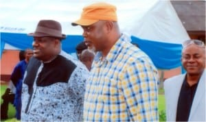 R-L: The representative of Governor Amaechi, Engr. Tele Ikuru, Deputy Governor, Rivers State, Commissioner for Commerce and Industry, Mr. Chuma C. Chinye and the Commissioners for Special Duties, Barr. Dickson Umumakwe at the empowerment ceremony at Delta Hotel, Port Harcourt last Friday, 8th August, 2014