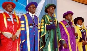 L-R: Vice Chancellor, Lagos State University, Prof Oladapo Obafunwa, Pro- Chancellor, Lagos State University, Mr Olabode Agusto, Governor Babatunde Fashola of Lagos State, Chancellor, Chief Molade Okoya-Thomas and Lagos State Commissioner for Education, Mrs Olayinka Oladunjoye, at the 19th Convocation of the University in Lagos, last Thursday.