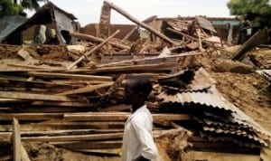 Wreckage of a house destroyed by flood in Ringim Local Government Area of Jigawa State, recently.