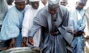 Gov. Sule Lamido of Jigawa State (2nd right),  laying foundation stone for the senate building of the State University at Kafin-hausa recently. Photo: NAN