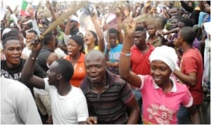 APC supporters jubilating over re-election of Gov. Rauf Aregbesola of Osun in Osogbo, yesterday