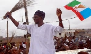 Governor Aregbesola of Osun State celebrating his re-election in Osogbo last Saturday. Photo: NAN