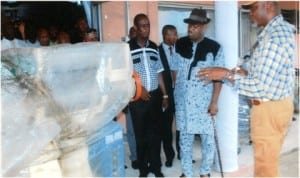 Representative of the Rivers State Governor and Deputy Governor, Engr Tele Ikuru (2nd right), Commissioner for Commerce and Industry, Chuma C. Chinye (right) and Commissioner for Special Duties, Barrister Dickson Umunnakwe, at the empowerment ceremony at Delta Hotel in Port Harcourt, last Friday