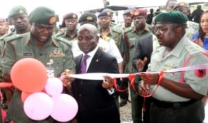 L-R: Chief of Army Staff, Lt.-Gen. Kenneth Minimah, Group Managing Director, Diamond Bank, Dr Alex Otti and Commanding Officer, 65 Battalion, Lt.-Col. Haruna Dasuki, at the inauguration of an Ultra Modern Block for the Battalion in Lagos, recently