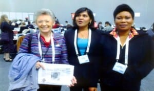 From right: The Tide's Sogbeba Dokubo, Dr Dorathy Persuad and an excited Professor Francoise Barre-Sinoussi displaying a copy of The Tide Newspaper at the just-concluded 20th International AIDS Conference in Melbourne, Australia