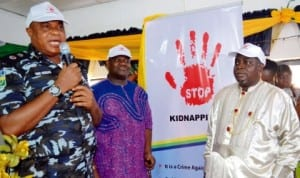 L-R: Commissioner of Police, Rivers State, Mr Tunde Ogunsakin;Deputy Governor of Rivers State, Mr Tele Ikuru and chairman of the occasion, Sen. George Sekibo at the first official launch of stop kidnapping campaign  in Port Harcourt recently.