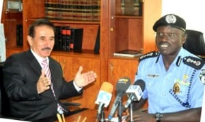 Ambassador, United Arab Emirates, Amb. Mahmood Mohammed (left), with IGP Suleiman Abba, during a courtesy visit to the police headquarters, Abuja, yesterday.