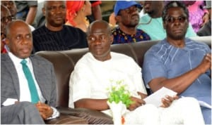 L-R: Governor Chibuike Amaechi of Rivers State, Chief of Staff, Rivers State Government House,  Mr Tony Okocha and former member, House of Representatives, Mr Igo Aguma, during the governor's tour of Obio/Akpor Local Government Council in Port Harcourt, yesterday
