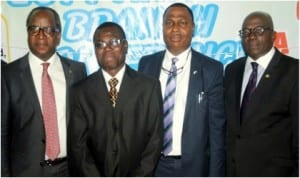 L-R: Guest Speaker, Mr Abiola Popoola, Chairman, Chartered Institute of Personnel Management (CIPN), Oyo State Branch, Mr Kolawole Oyerinde, chairman of the occasion, Mr Olujinmi Olukoya and Registrar of the Institute, Mr Sunday Adeyemi, during the 12th Annual Conference by the Oyo State Branch, in Ibadan, yesterday.