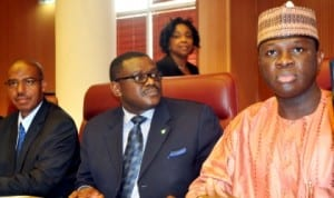 L-R: Minister of State for Health, Dr Khaliru Alhassan, Minister of Health, Prof. Onyebuchi Chukwu and Minister of State 2 for Foreign Affairs, Mr Nurudeen Mohammed briefing Heads of Foreign Missions in Nigeria on Ebola Virus  in Abuja, recently.
