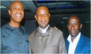 L-R: Chairman, Senior Secondary School Board and former commissioner of Sport, Rivers State, Allwell Onyesoh, the author of the book, 'The Professional and Ethical Teacher, the Quest for Efficiency,' Dr Jacob Sunday Akikibofori, Hon Gray B Tamunolyala, during the launching of the book at Royal Banquet Hall, Hotel Presidential, Port Hacourt, yesterday