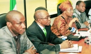 Chairman, Nigeria Electricity Regulatory Commission (NERC), Dr Sam Amadi, CBN  Governor, Mr Godwin Emefiele, Minister of Petroleum Resources, Mrs Diezani Alison-Madueke and Minister of Power, Professor Chinedu Nebo, addressing newsmen on inter-agency collaboration on gas-power in Abuja, last Saturday.
