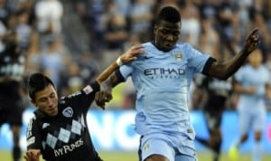 Kelechi Iheanacho (right) in action during Man City's pre-season in USA. His exploits have been inspiring his former mates.