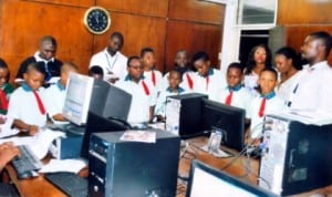 Pupils of Greenhill International School, Port Harcourt at the Computer Room of the Rivers State Newspaper Corporation during an excursion, recently.