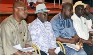 Rivers State Commissioner for Health, Dr Sampson Parker (left), Permanent Secretary, Ministry of Health, Mr Somiari Harry (2nd left), Director, Public Health, Dr Nnanna Onyekwerre (2nd right) and Special Assisant to the Commissioner, Dr Kalada Dick Iruenabere, during their appeareance before the House of Assembly in Port Harcourt, last Wednesday