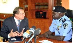 U.S. Deputy Chief of Mission, Mr Francis John-Bray (left) discussing with igp Suleiman Abba, during his  courtesy visit to Louis Edet House  in Abuja, recently. Photo: NAN