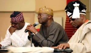 L-R: Lagos State Commissioner for Local Government and Chieftaincy Affairs, Mr Ademorin Kuye, Governor Babatunde Fashola and Oba Rilwan Akiolu of Lagos, at a meeting of traditional rulers with the governor in Lagos, yesterday.
