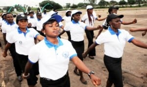 Members of Child Rights Brigade, Enugu State Command during their inauguration in Enugu, recently.