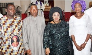 L-R: Dora Akunyili's husband, John, President Goodluck Jonathan, his wife, Dame Patience and Dora's daughter, during a Requiem Mass for Prof. Dora Akunyili  at Our Lady Queen of Nigeria Pro-Cathedral Catholic Church in Abuja, yesterday .